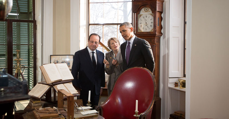Presidents Obama and Hollande in the Cabinet